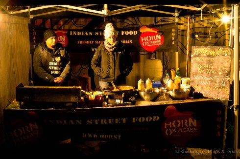 Horn Please? But in London? - This is Horn Ok Please. doing some good spicy food to warm up the crowd.