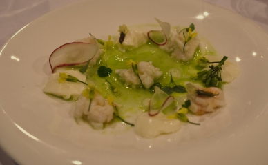 Spanner crab, buttermilk, citrus gel, cucumber and verbena